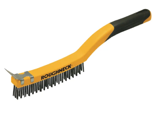 Roughneck 52030 Soft Grip Carbon Steel Wire Brush with Scraper 3 Row 355mm / 14""